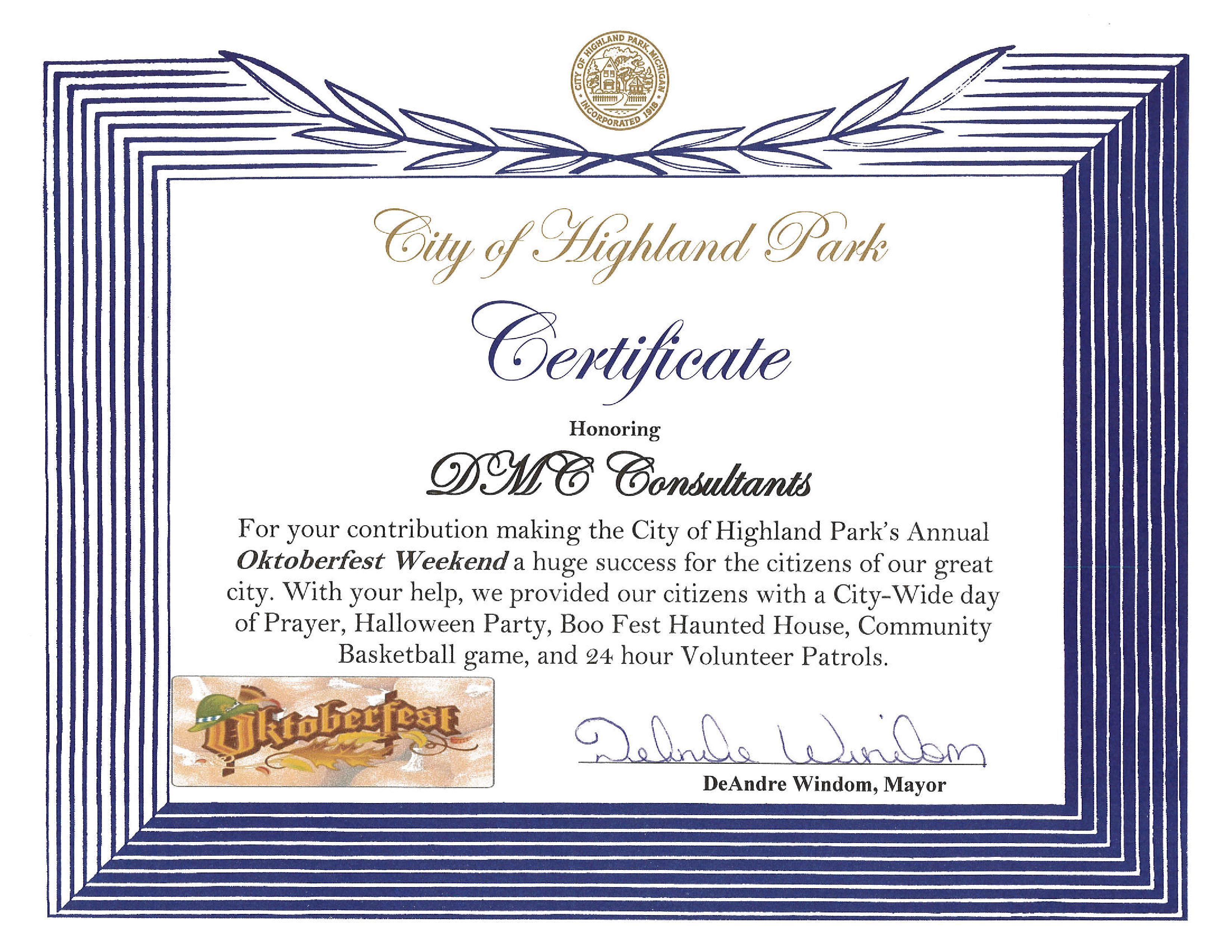 Dmc group usa dmc awarded certificate of appreciation by the city of highland park yadclub Image collections